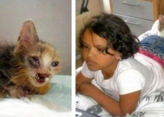 Ignorată din cauza înfățișării sale, o pisică a fost salvată de o fetiță cu suflet mare!