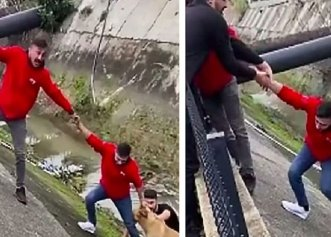 Intervenție spectaculoasă pentru salvarea unui câine căzut într-un canal!