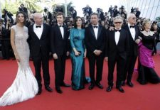From left, actors Madalina Ghenea, Alex MacQueen, Paul Dano, Rachel Weisz, director Paolo Sorrentino,actors  Harvey Keitel, Michael Caine, and Jane Fonda pose for photographers as they arrive for the screening of the film Youth at the 68th international film festival, Cannes, southern France, Wednesday, May 20, 2015. (AP Photo/Lionel Cironneau)